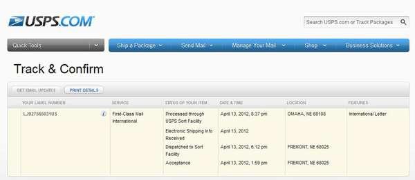 LJ927565031US на сайте USPS - Track Confirm