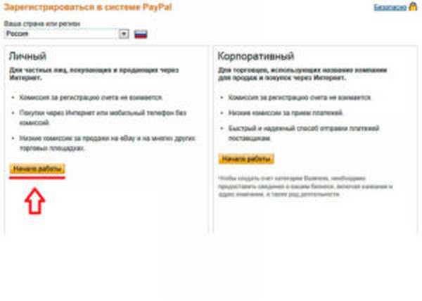 Регистрация в системе PayPal