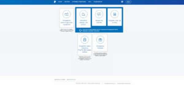 Выбор необходимого действия в аккаунте PayPal