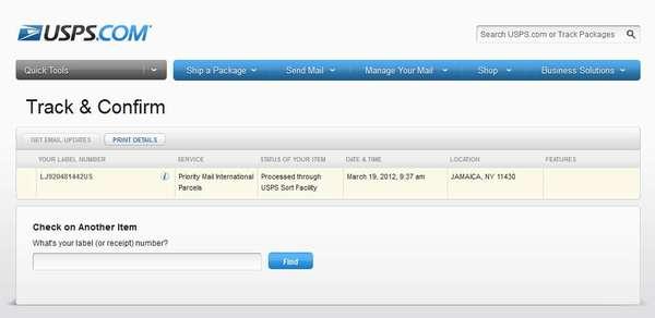 LJ920481442US на сайте USPS - Track Confirm