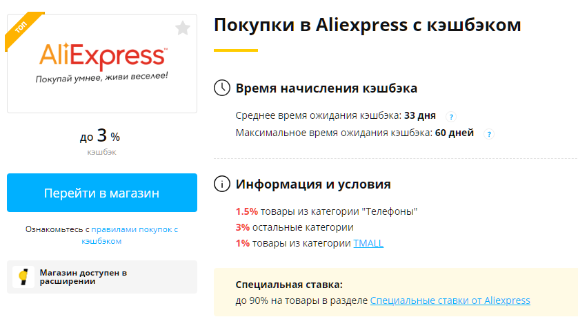 Условия покупок в Aliexpress с Letyshops