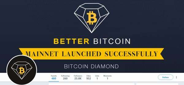 Bitcoin Diamond в Твиттере