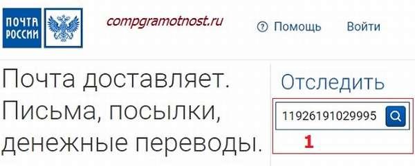 На сайте pochta.ru вводим трек-номер (т.е. номер почтового идентификатора), который находится на кассовом чеке