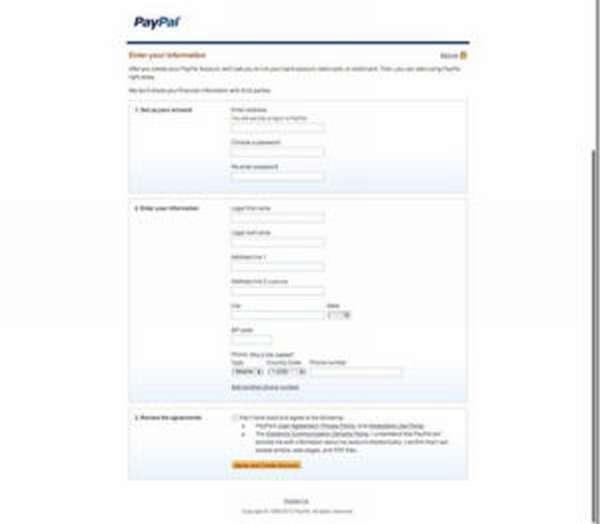 Страница ввода данных при создании аккаунта PayPal