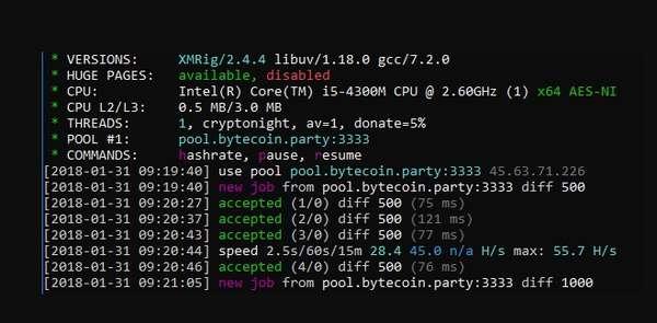 Настройка конфига для пула Bytecoin.party