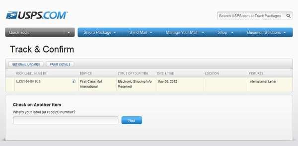 LJ274664949US на сайте USPS - Track Confirm