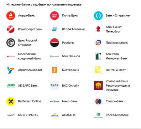 список банков QIWI перевод на баланс онлайн с карты