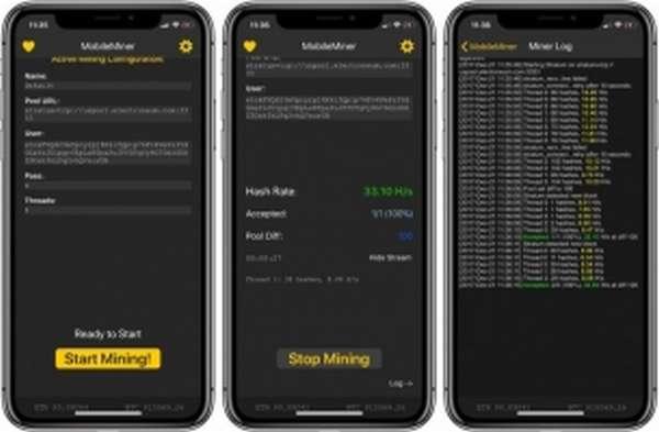 Мобильный майнер MobileMiner для iPhone
