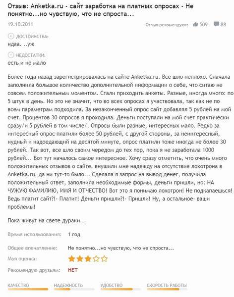 Отзыв о сайте Анкетка ру