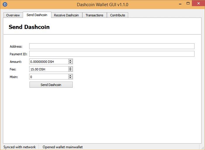 Отправка перевода Dashcoin