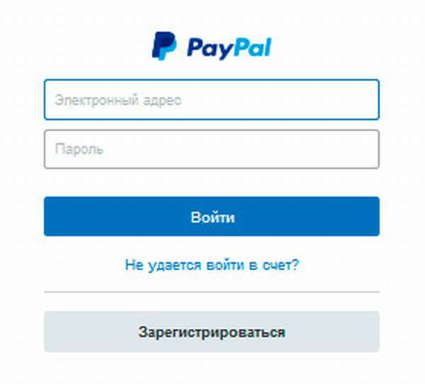 Окно ввода логина и пароля PayPal
